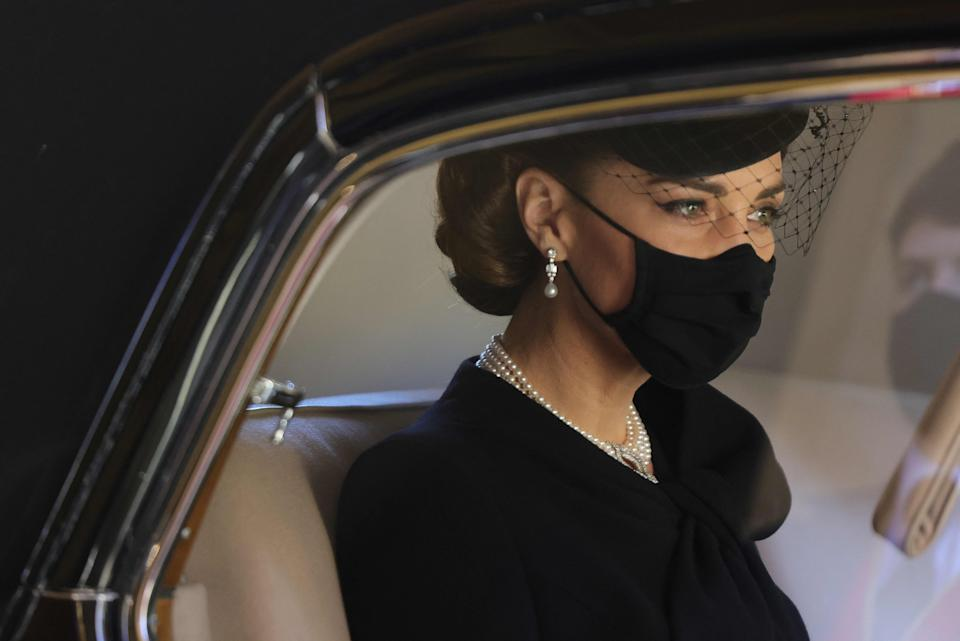 Kate Middleton gave a subtle nod to Princess Diana at the April 17 funeral of Prince Philip. (Photo: CHRIS JACKSON/AFP via Getty Images)