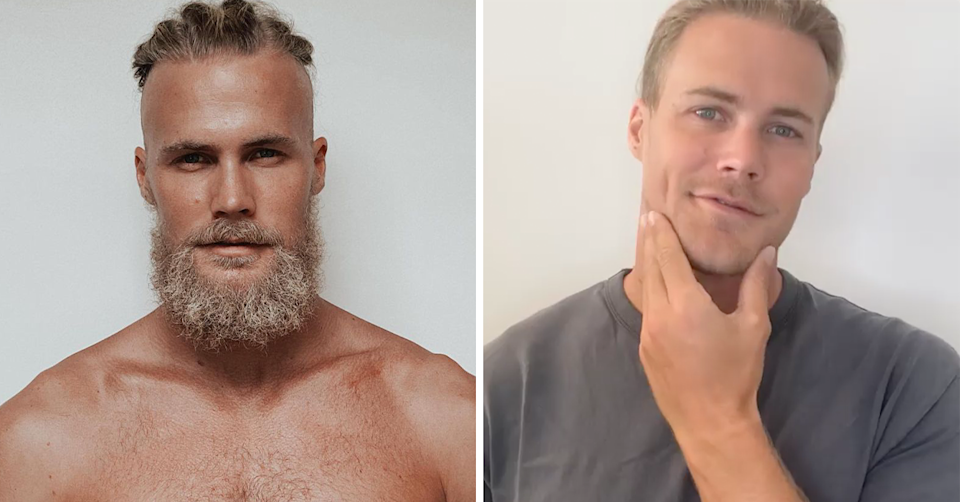 Before and after Jett Kenny shaved off his beard.