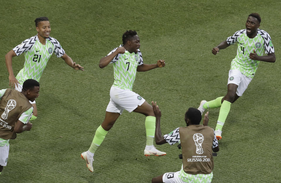 Nigeria's Ahmed Musa celebrates one of his two goals against Iceland at the 2018 World Cup. (AP)