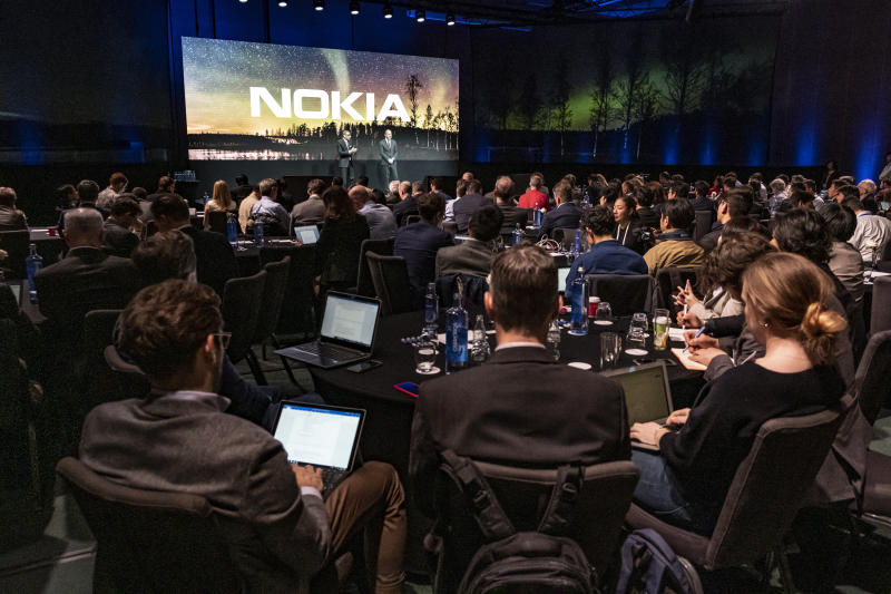 Rajeev Suri President and CEO of Nokia is seen speaking