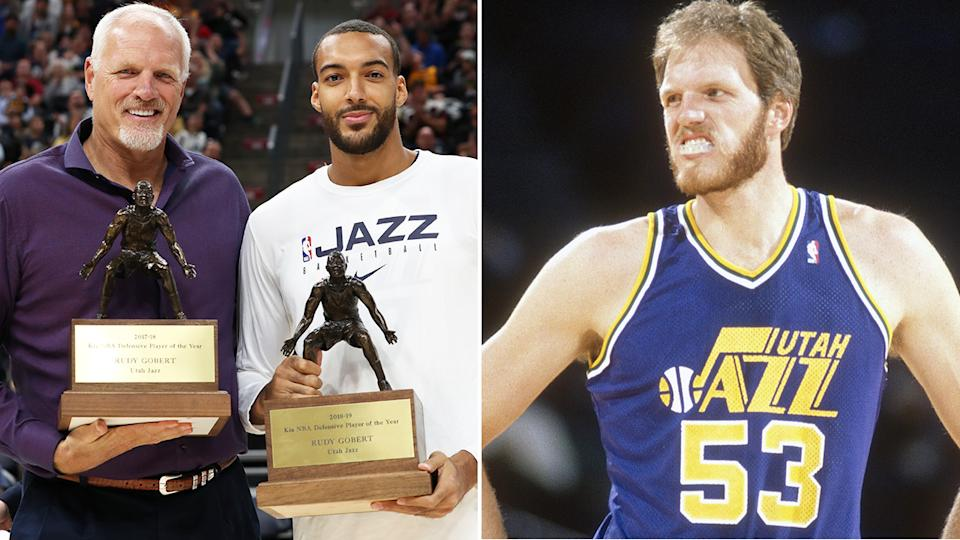 Utah Jazz legend Mark Eaton, a defensive juggernaut who went on to mentor a successor of sorts in Rudy Gobert, has died aged 64. Pictures: Getty Images
