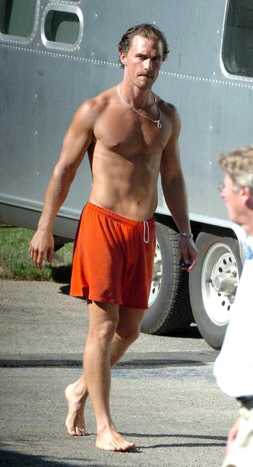 "Hunky second place vote-getter Matthew McConaughey lives by the words, ""If you've got it, flaunt it."" <a href=""http://www.splashnewsonline.com"" target=""new"">Splash News</a> - August 8, 2004"