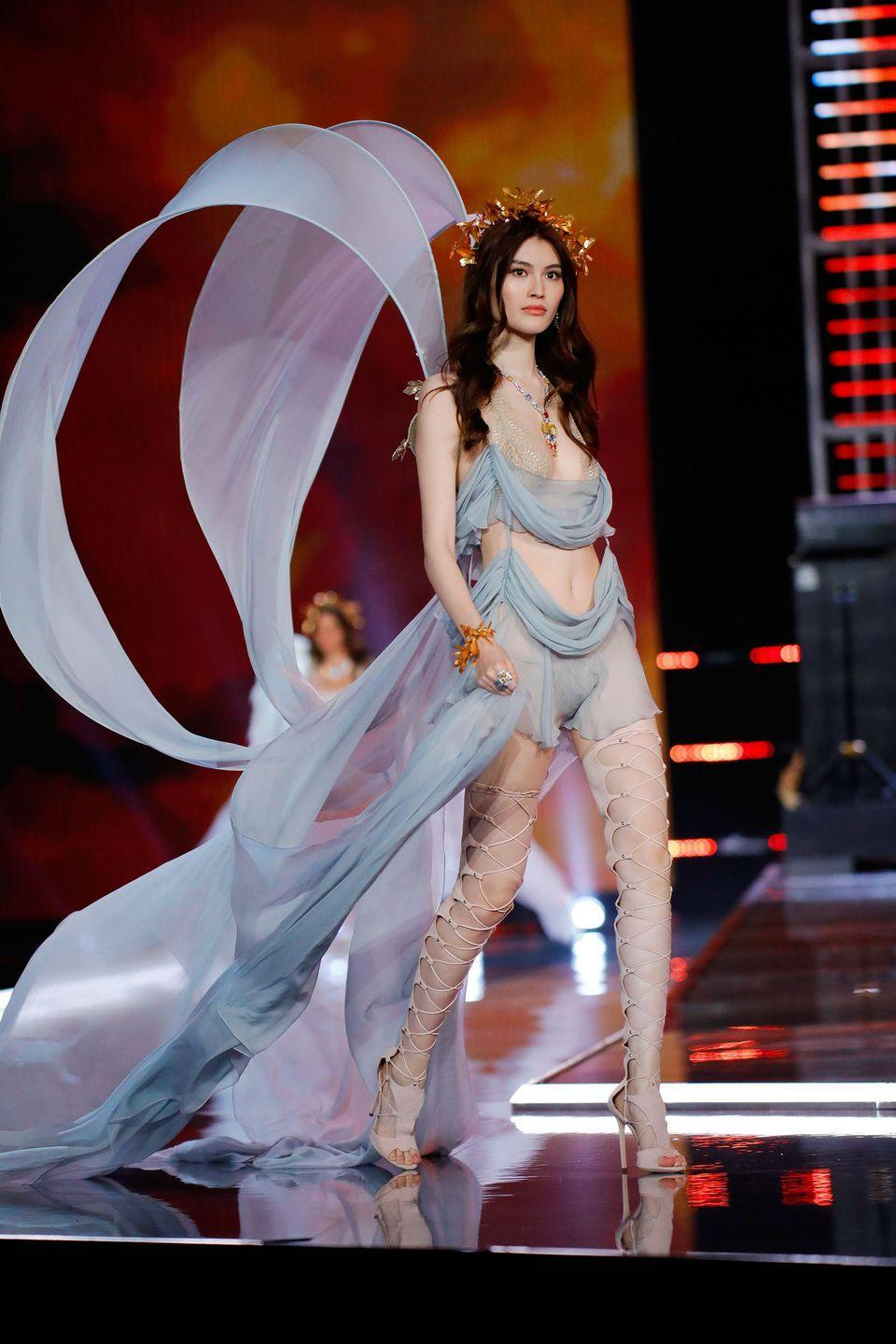 "<p>For the Chinese supermodel, her runway life began when she <a href=""https://www.bustle.com/articles/124045-who-is-sui-he-the-asian-victorias-secret-model-everyone-needs-to-know-photos"" rel=""nofollow noopener"" target=""_blank"" data-ylk=""slk:entered a modeling competition"" class=""link rapid-noclick-resp"">entered a modeling competition</a> in China at 17 years old. Although she had no prior training, she ended up winning the contest. </p>"
