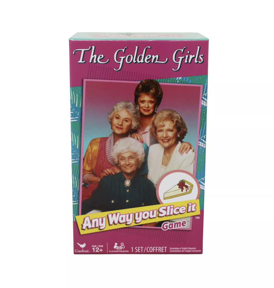 """<p><strong>Cardinal</strong></p><p>target.com</p><p><strong>$10.59</strong></p><p><a href=""""https://www.target.com/p/the-golden-girls-any-way-you-slice-it-game/-/A-53356003"""" rel=""""nofollow noopener"""" target=""""_blank"""" data-ylk=""""slk:BUY NOW"""" class=""""link rapid-noclick-resp"""">BUY NOW</a></p><p>Test your knowledge of your favorite show with this game, in which correct answers score you pieces of cheesecake, and the first player to get eight slices wins.</p>"""