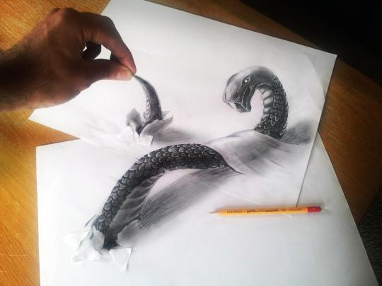 """<b>Snake:</b> The 31-year-old artist's work weaves, bends, and wraps across the page. They involve airbrushing, drawing, and painting, according to his <a href=""""http://www.jjkairbrush.nl/home/index.php?option=com_content&view=article&id=5&Itemid=8"""" rel=""""nofollow noopener"""" target=""""_blank"""" data-ylk=""""slk:online bio"""" class=""""link rapid-noclick-resp"""">online bio</a>. <br> <br> <a href=""""http://www.jjkairbrush.nl/home/"""" rel=""""nofollow noopener"""" target=""""_blank"""" data-ylk=""""slk:(Courtesy of Ramon Bruin)"""" class=""""link rapid-noclick-resp"""">(Courtesy of Ramon Bruin)</a>"""