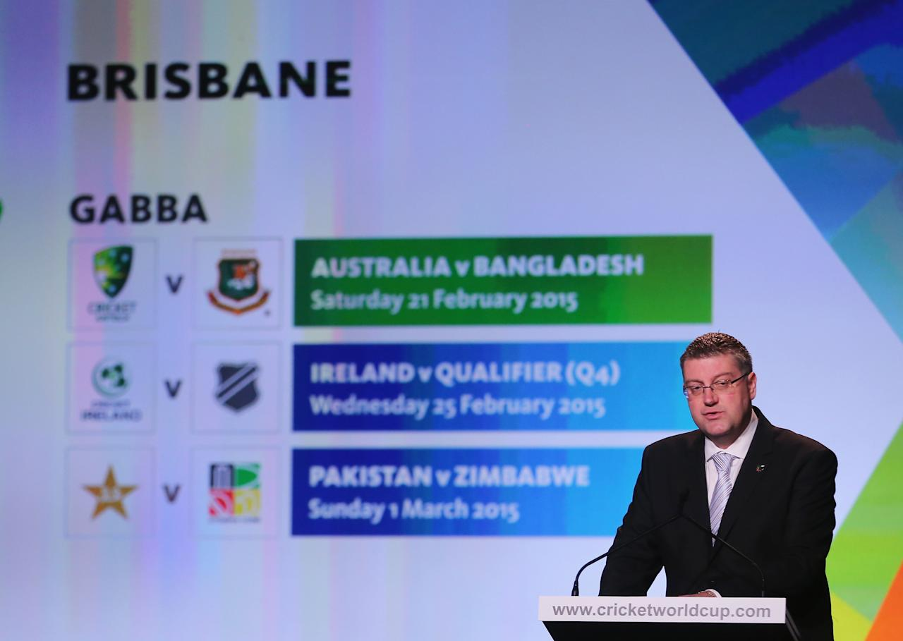 MELBOURNE, AUSTRALIA - JULY 30:  John Harnden, CEO, ICC Cricket World Cup 2015 announces the matches that will be played at the Gabba in Brisbane during the Official Launch of the ICC Cricket World Cup 2015 on July 30, 2013 in Melbourne, Australia.  (Photo by Scott Barbour/Getty Images)
