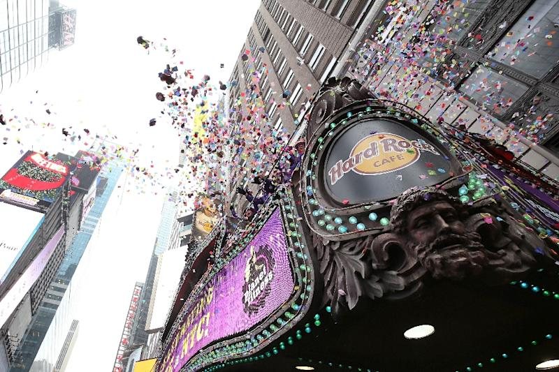 Organizers test confetti cannons in the runup to New Year's Eve 2016 celebrations in Times Square, where revelers will gather to celebrate the turning of the calendar page amid tight security and jitters about the risks of terrorism