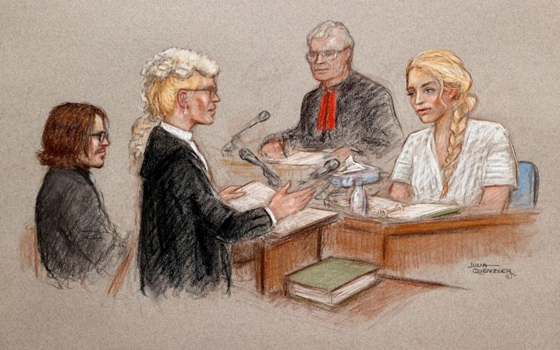 Courtroom sketch of actor Amber Heard at the High Court in London - Julia Quenzler via REUTERS
