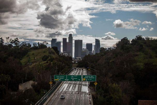 PHOTO: The Freeway 110 is pictured with downtown Los Angeles, California, on March 19, 2020. (Apu Gomes/AFP via Getty Images)