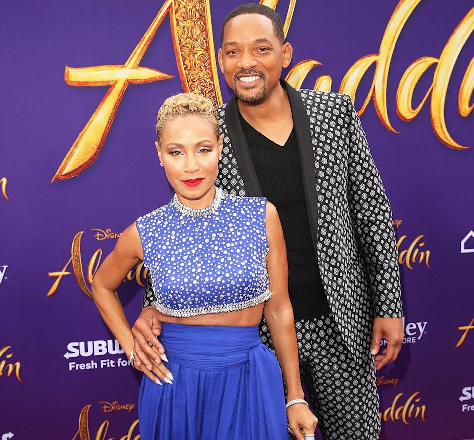 """Jada Pinkett Smith (L) and Will Smith attend the World Premiere of Disney's """"Aladdin"""" at the El Capitan Theater in Hollywood CA on May 21, 2019, in the culmination of the film's Magic Carpet World Tour with stops in Paris, London, Berlin, Tokyo, Mexico City and Amman, Jordan."""