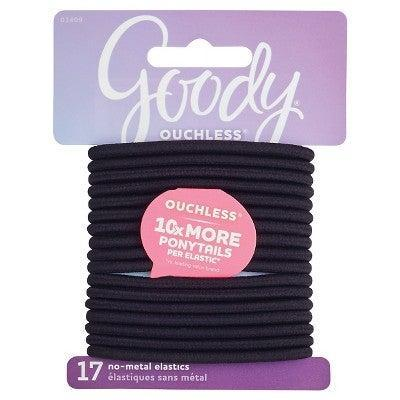 """<br><br><strong>Goody</strong> Goody Ouchless Elastic Hair Ties - Black, $, available at <a href=""""https://go.skimresources.com/?id=30283X879131&url=https%3A%2F%2Fwww.target.com%2Fp%2Fgoody-ouchless-elastic-hair-ties-black-4mm-17ct%2F-%2FA-11895555%3Fref%3Dtgt_adv_XS000000%26AFID%3Dgoogle_pla_df%26fndsrc%3Dtgtao%26CPNG%3DPLA_Beauty%252BPersonal%2BCare%252BShopping_Local%26adgroup%3DSC_Health%252BBeauty%26LID%3D700000001170770pgs%26network%3Dg%26device%3Dc%26location%3D9004339%26gclid%3DEAIaIQobChMI-aCaoabU6AIVmYjICh2cJwiIEAQYASABEgIdnPD_BwE%26gclsrc%3Daw.ds"""" rel=""""nofollow noopener"""" target=""""_blank"""" data-ylk=""""slk:Target"""" class=""""link rapid-noclick-resp"""">Target</a>"""