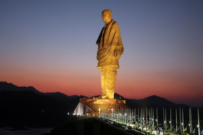 """General view of the """"Statue of Unity"""" portraying Sardar Vallabhbhai Patel, one of the founding fathers of India, during its inauguration in Kevadia"""