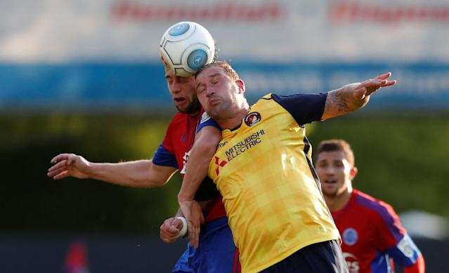 Soccer Football - National League Play-Off Eliminator - Aldershot Town v Ebbsfleet United - EBB Stadium, Aldershot, Britain - May 2, 2018 Aldershot Town's Jake Gallagher in action with Ebbsfleet United's Danny Kedwell Action Images/Peter Cziborra