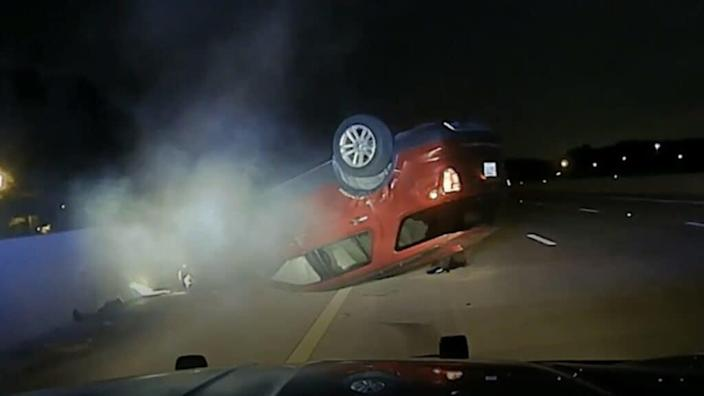 """Arkansas State Police Trooper Rodney Dunn reportedly used a """"pursuit intervention technique"""" that flipped the car of pregnant motorist Nicole Harper, who is suing. (NBC)"""