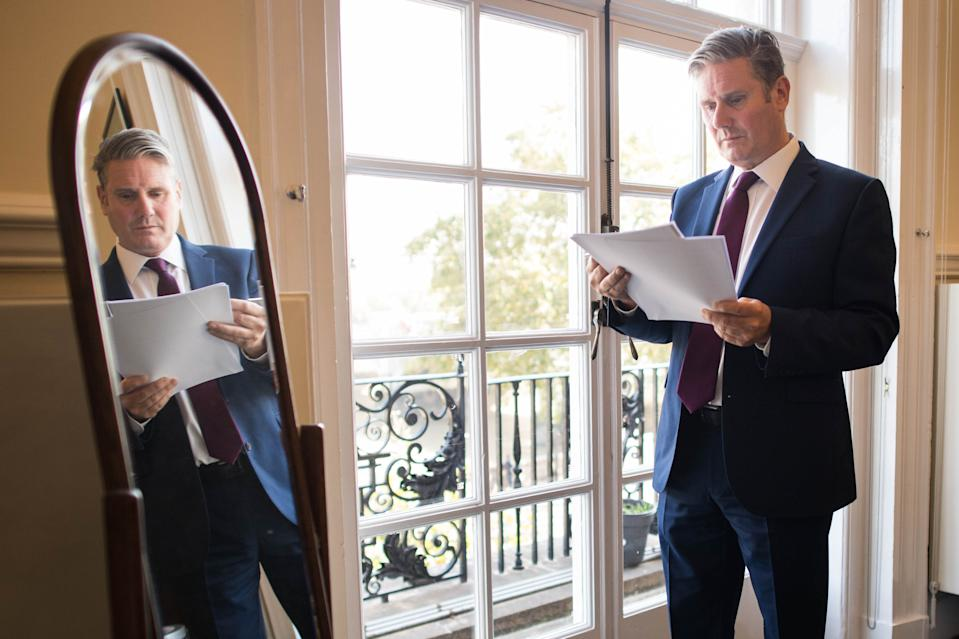 Labour leader Sir Keir Starmer prepares his conference speech in his parliamentary office on 21 September. (Stefan Rousseau/PA)