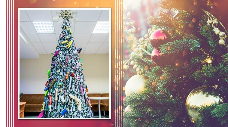 Airport Christmas tree decorated with prohibited items, Christmas tree in Lithuania airport, Trending, Indian Express news