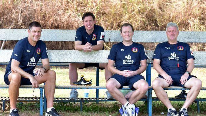 Robbie Fowler and the East Bengal coaching staff.