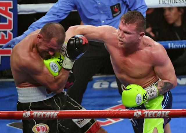 Canelo Alvarez nails former Russian champ Sergey Kovalev in the 10th round of their WBO light heavyweight title fight at MGM Grand Garden Arena in Las Vegas (AFP Photo/Ethan Miller)