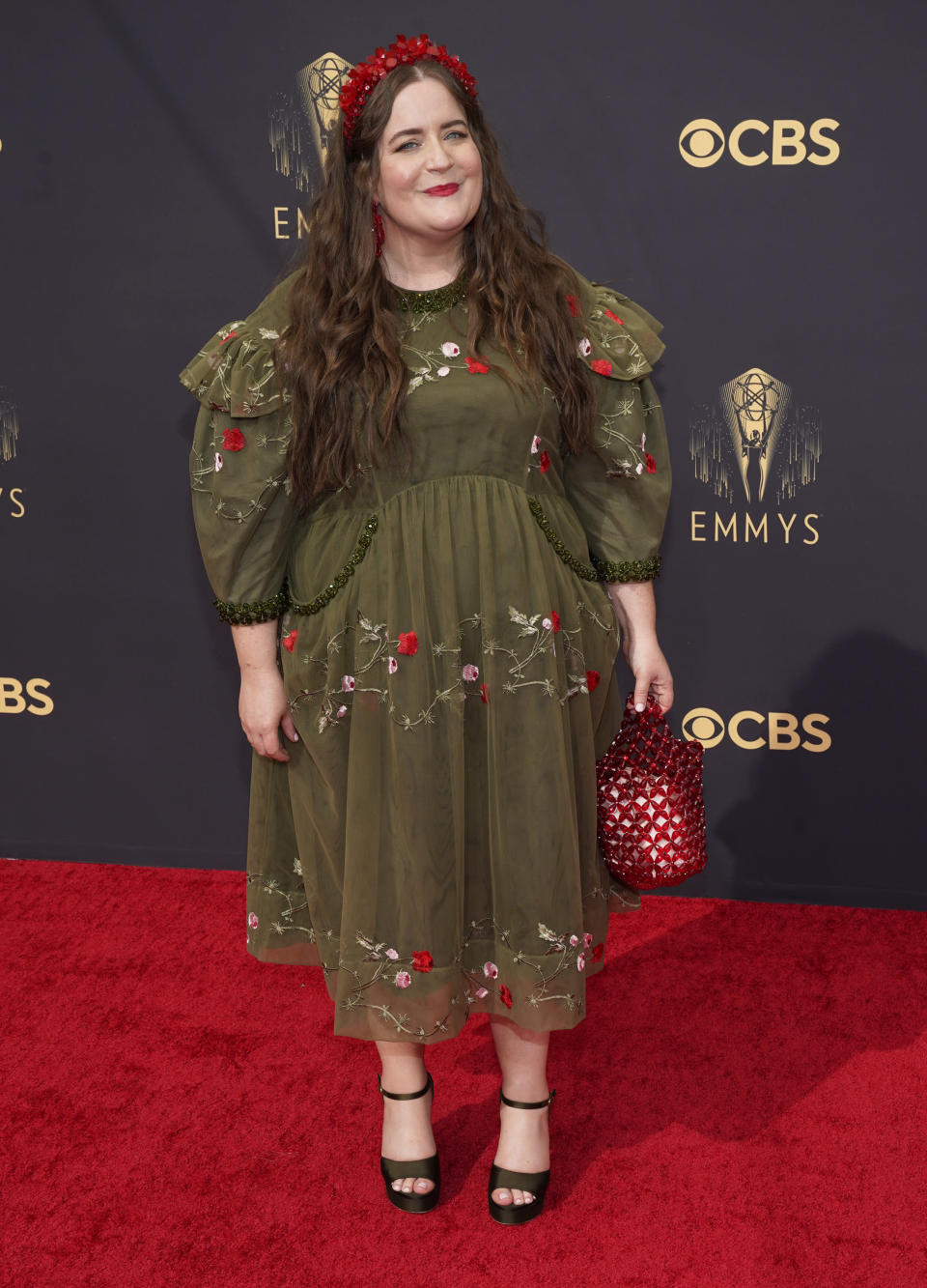 Aidy Bryant arrives at the 73rd Primetime Emmy Awards on Sunday, Sept. 19, 2021, at L.A. Live in Los Angeles. (AP Photo/Chris Pizzello)
