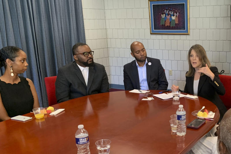 Democratic presidential candidate Marianne Williamson speaks with a group of community and religious leaders at the Interdenominational Theological Center in Atlanta, on Aug. 31, 2019. Despite being excluded from this week's third Democratic debate due to poor polling numbers, the best-selling author continues to campaign full time, with the goal of qualifying for the fourth debate in mid-October.(AP Photo/Khalil Ashraf)