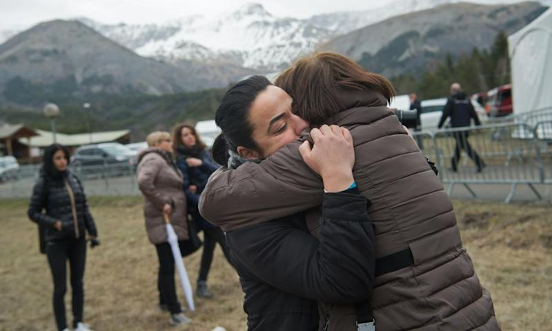 Victims' relatives and friends commemorate the second anniversary of the Germanwings crash at Vernet memorial, in the French Alps.