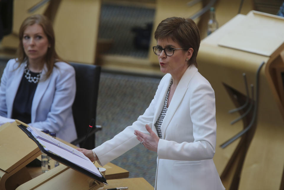 Scotland's First Minister Nicola Sturgeon speaks during First Minster's Questions (FMQ's) on coronavirus in the debating chamber of the Scottish Parliament in Edinburgh.