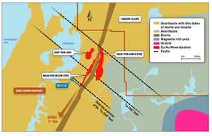 Geology map of the Corner Bay deposit with projections to surface of the mineral resources defined in the 2019 NI 43-101 Technical Report and showing location of hole CB-21-32.