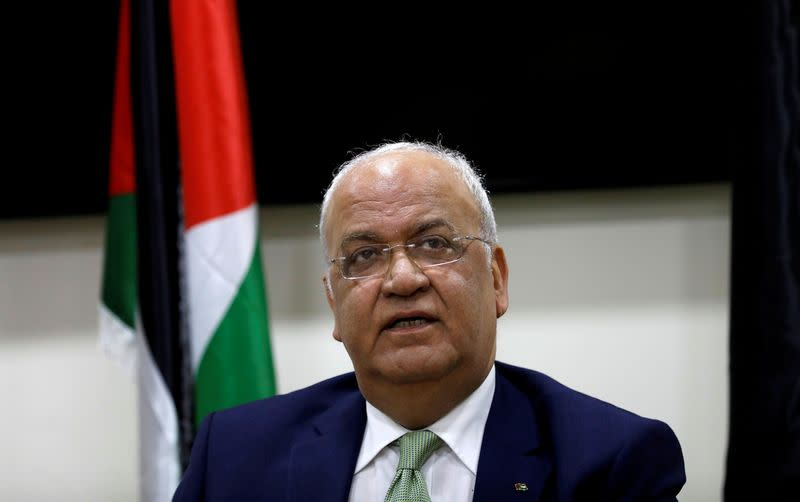 FILE PHOTO: Chief Palestinian negotiator Saeb Erekat looks on during a news conference following his meeting with foreign diplomats in Ramallah, in the Israeli-occupied West Bank