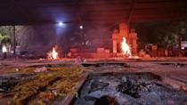 Fires burn at Indian crematorium as Covid death toll mounts