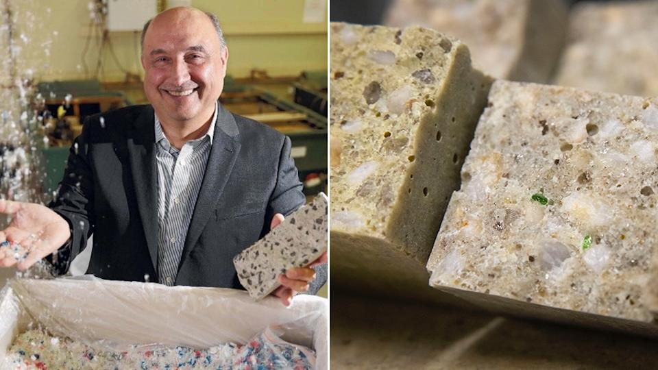 Dr Riyadh Al-Ameri, an engineer from Deakin University with the concrete made out of recycled plastic (left) and the Polymer concrete made with glass. Source: Supplied - Dr Riyadh Al-Ameri.