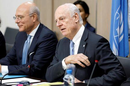 UN Special Envoy of the Secretary-General for Syria Staffan de Mistura attends prior a round of negotiation with Bashar al-Jaafari during the Intra Syria talks, at the European headquarters of the United Nations in Geneva