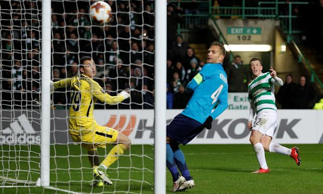 Callum McGregor watches hit shot fly past the Zenit St Petersburg goalkeeper Andrey Lunev to give Celtic a 1-0 home win.