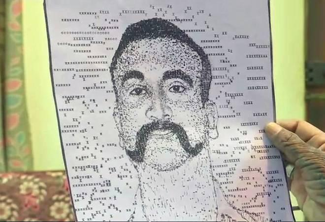 Bengaluru based AC Gurumurthy fleshed out a black and white portrait resembling IAF pilot Abhinandan Varthaman by typing letters, symbols, numbers and special characters on the keyboard.