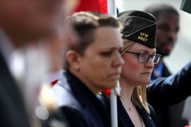 Female veterans at a news conference at the Capitol in March 2017. (Photo: Justin Sullivan/Getty Images)