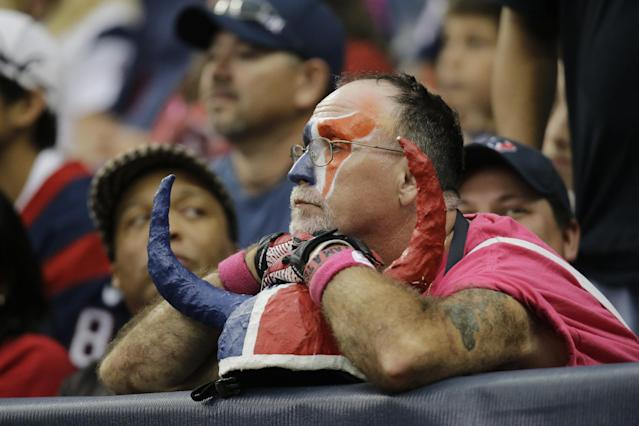 A Houston Texans fan watches the team play against the St. Louis Rams during the fourth quarter of an NFL football game Sunday, Oct. 13, 2013, in Houston, Texas. The Rams defeated trhe Texans 38-13. (AP Photo/Eric Gay)