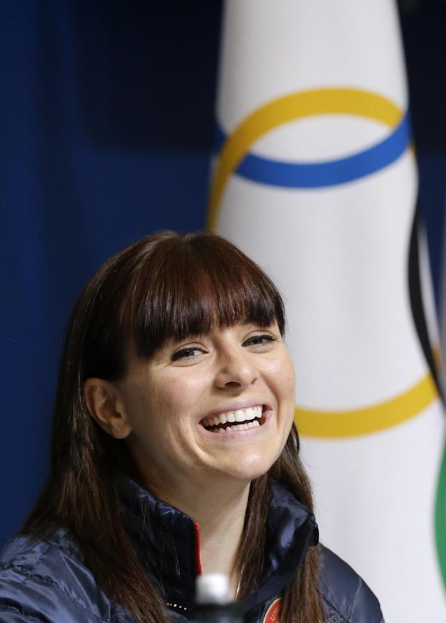 U.S. speedskater Heather Richardson speaks during a 2014 Winter Olympics news conference, Thursday, Feb. 6, 2014, in Sochi, Russia. (AP Photo/Patrick Semansky)