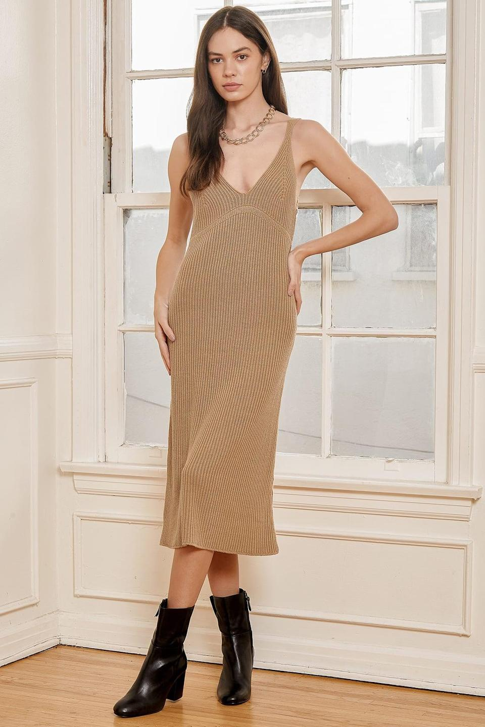 <p>I love the sophisticated silhouette of this <span>Live Easy Tan Knit Midi Sweater Dress</span> ($54). The neutral color also makes it extremely versatile.</p>
