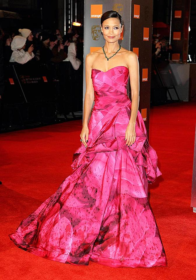 "Also turning heads at the BAFTAs ... Thandie Newton, who nearly stole the spotlight from Annette and Julianne thanks to her breathtaking Monique Lhuillier ball gown. Mike Marsland/<a href=""http://www.wireimage.com"" target=""new"">WireImage.com</a> - February 13, 2011"