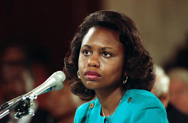 "FILE - In this Oct. 11, 1991 file photo University of Oklahoma law professor Anita Hill testifies before the Senate Judiciary Committee on the nomination of Clarence Thomas to the Supreme Court on Capitol Hill in Washington. Hill testified that she was ""embarrassed and humiliated"" by unwanted, sexually explicit comments made by Thomas when she worked for him a decade ago. The Thomas-Hill hearings riveted Americans, and the same is expected for the Kavanaugh-Ford hearing on Thursday, Sept. 27, 2018. (AP Photo, File)"