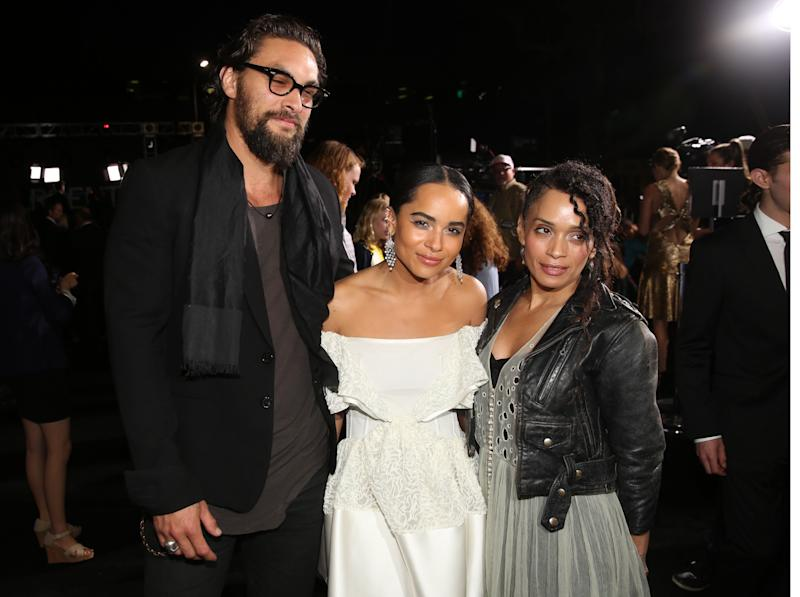 "From left, Jason Momoa, Zoe Kravitz and Lisa Bonet arrive at the world premiere of ""Divergent"" at the Regency Bruin Theatre on Tuesday, March 18, 2014 in Los Angeles. (Photo by Matt Sayles/Invision/AP)"