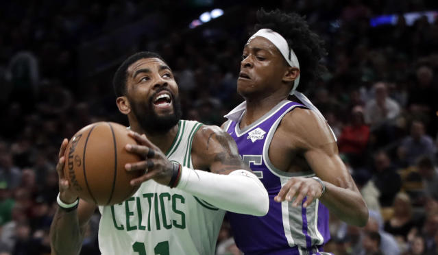 Kyrie Irving notched the second triple-double of his career in the Celtics' victory over the Kings on Thursday night, and it came with a pair of interesting stats.