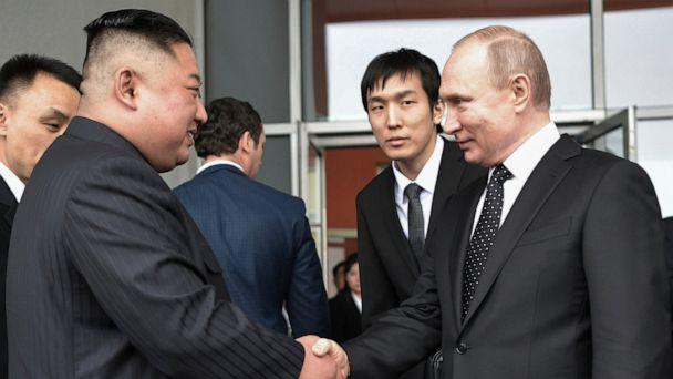 Russian President Vladimir Putin, right, and North Korea's leader Kim Jong Un shake hands after the talks in Vladivostok, Russia, Thursday, April 25, 2019. Russian President Vladimir Putin and North Korean leader Kim Jong Un said Thursday they had go (The Associated Press)