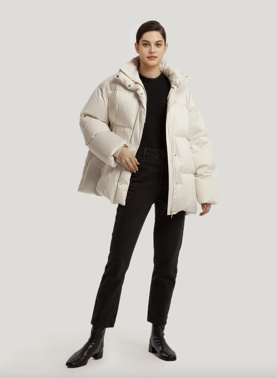 Nap Matte Quilted Puffer Jacket in white with black pants and black leather boots