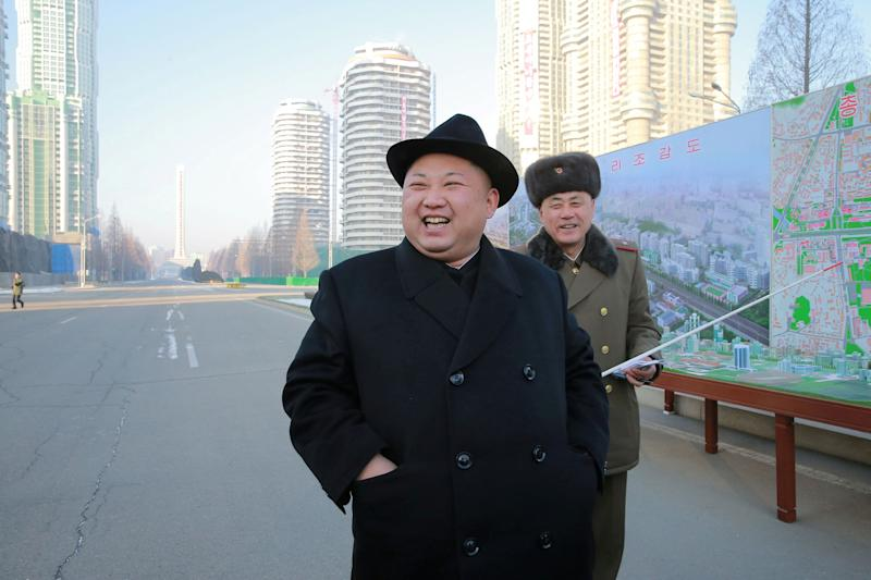 FILE PHOTO: North Korean leader Kim Jong Un inspects the construction site of Ryomyong Street, in this undated photo released by North Korea's Korean Central News Agency (KCNA) on January 26, 2017.  KCNA via REUTERS/File photo      ATTENTION EDITORS - THIS PICTURE WAS PROVIDED BY A THIRD PARTY. REUTERS IS UNABLE TO INDEPENDENTLY VERIFY THIS IMAGE. FOR EDITORIAL USE ONLY. NO THIRD PARTY SALES. SOUTH KOREA OUT.