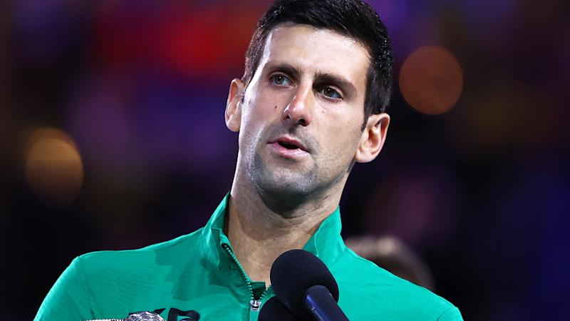 Novak Djokovic, pictured here after the Australian Open final in January.