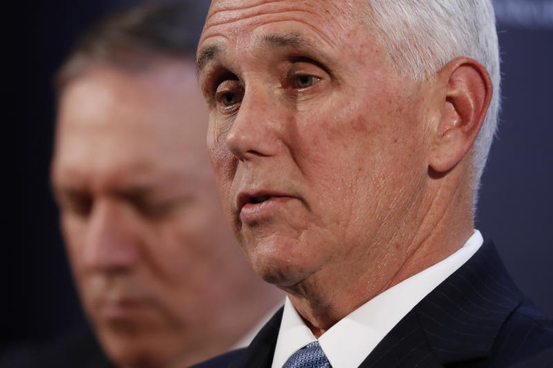Vice President Mike Pence speaks at the U.S. ambassador's residence during a news conference with Secretary of State Mike Pompeo after their meeting with Turkish President Recep Tayyip Erdogan, Thursday, Oct. 17, 2019, in Ankara, Turkey. Pence says the U.S. and Turkey have agreed to a cease-fire in Syria. (AP Photo/Jacquelyn Martin)