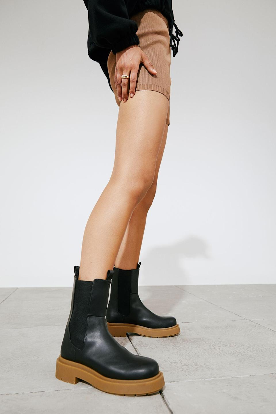 <p>You'll get a ton of wear out of these <span>Platform Chelsea-style Boots</span> ($40, originally $50), so you won't regret investing in them. We like the color contrast, which makes the style even cooler.</p>