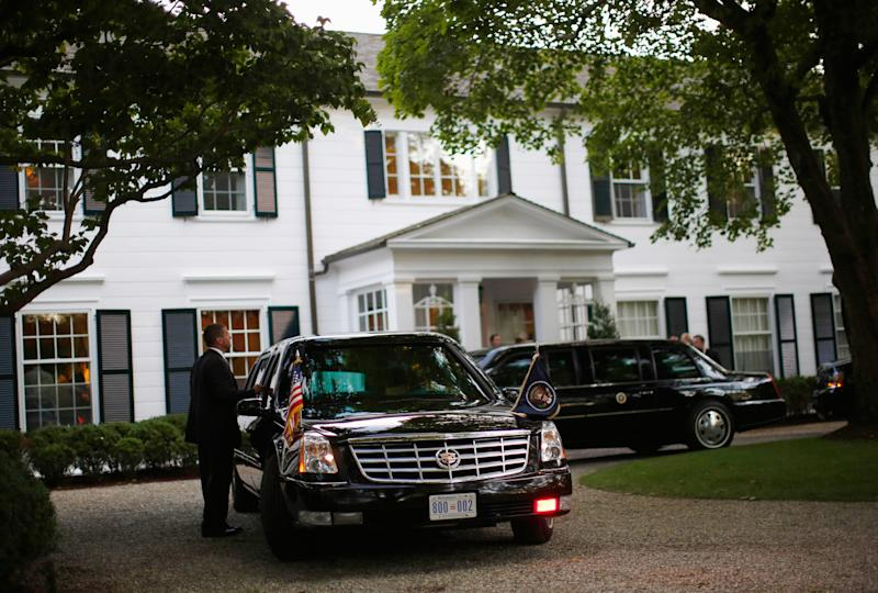 President Obama's limousines are pictured at a election campaign fundraiser at the Connecticut home of Harvey Weinstein in 2012.