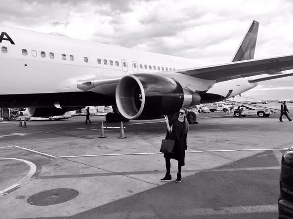 """<p>Busy traveler Lea Michele looks tiny next to a jumbo jet on the runway in NYC. (Photo: <a href=""""https://www.instagram.com/p/BFcO9JWCD8a/"""" rel=""""nofollow noopener"""" target=""""_blank"""" data-ylk=""""slk:Lea Michele via Instagram"""" class=""""link rapid-noclick-resp"""">Lea Michele via Instagram</a>) </p>"""