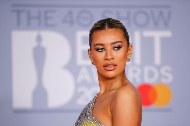 Montana Brown poses on the red carpet on arrival for the BRIT Awards 2020 in London on February 18, 2020. (TOLGA AKMEN/AFP via Getty Images)